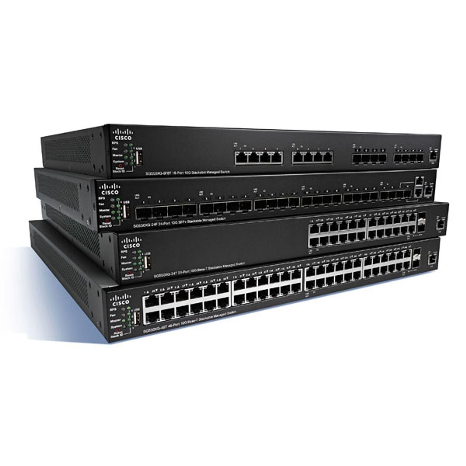 Cisco SG350X-24 (SG350X-24-K9-EU) Switch Gigabit Small Business 24 ports 10/100/1000 avec 4 x 10 Gigabit Ethernet (2 x 10GBase-T/SFP+ combo 2 x SFP )