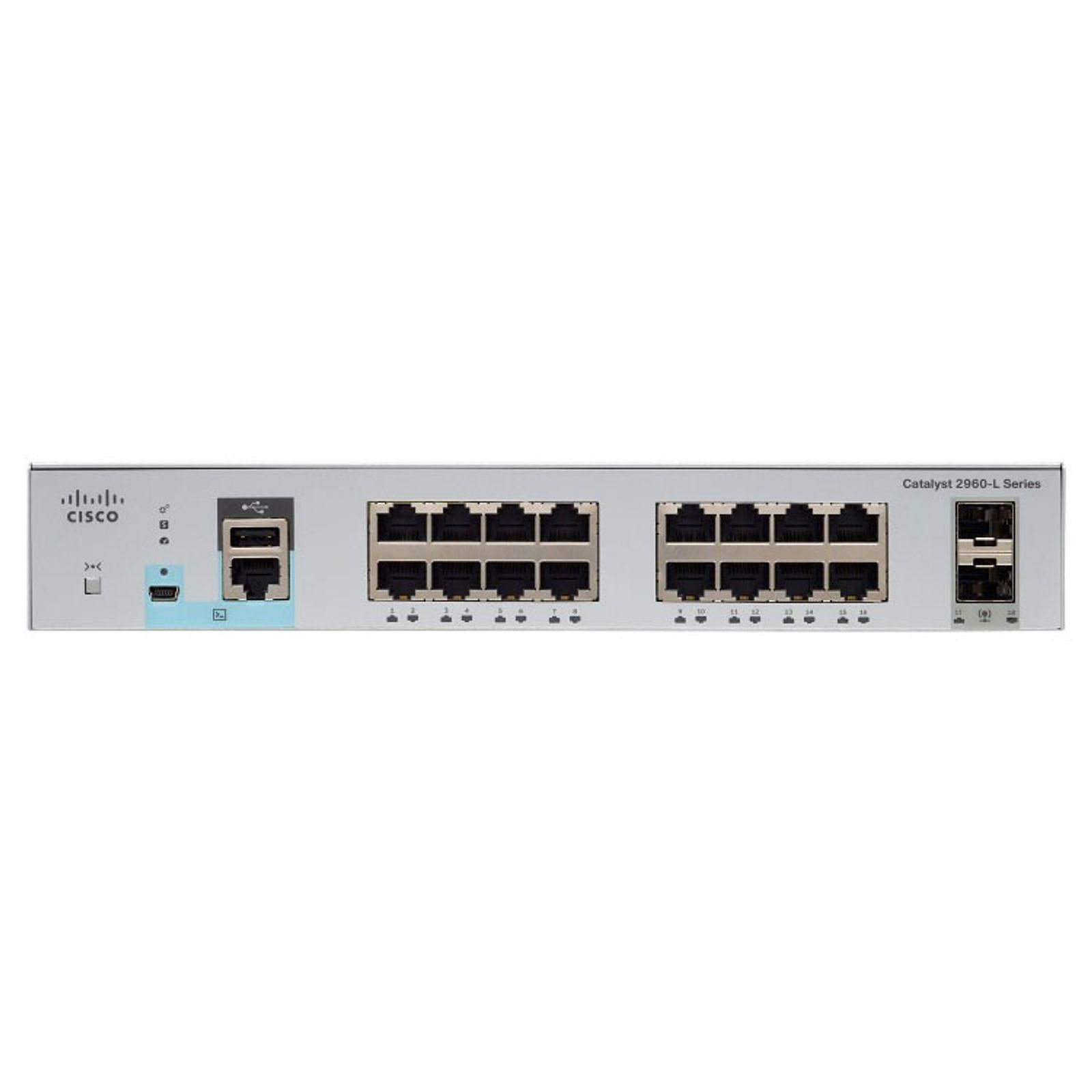 Cisco Catalyst WS-C2960L-16PS-LL Switch PoE+ 16 ports 10/100/1000 Mbps + 2 ports SFP